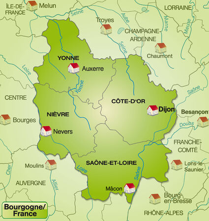 leu: Map of Burgundy with borders in green
