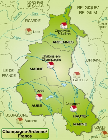 Map of Champagne-Ardenne with borders in green Vector