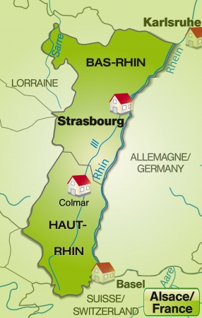 strasbourg: Map of Alsace with borders in green