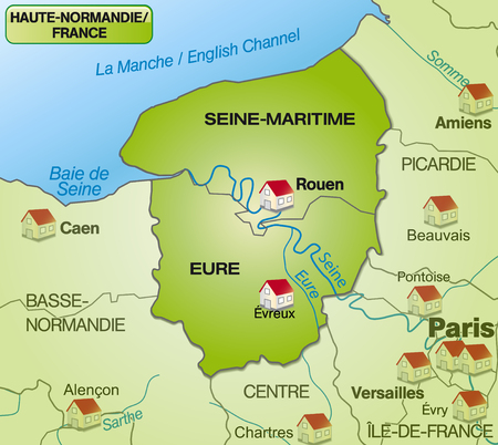 canton: Map of Upper Normandy with borders in green