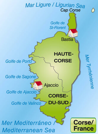 ajaccio: Map of corsica with borders in green