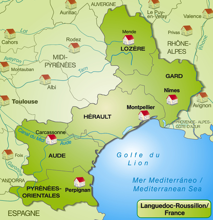 canton: Map of languedoc-roussillon with borders in green