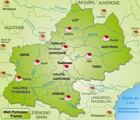toulouse: Map of Midi-Pyrenees with borders in green