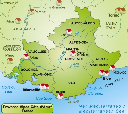 nice france: Map of Provence-Alpes-Cote d Azur with borders in green