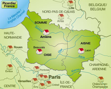 canton: Map of picardie with borders in green Illustration