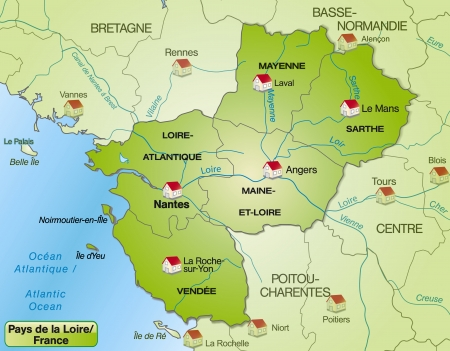 Map of Pays de la Loire with borders in green Vector