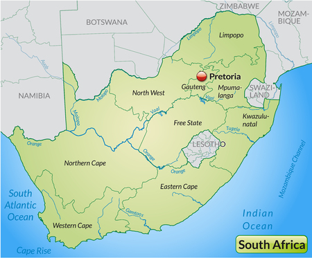 Map of south africa with borders in pastel green Illustration