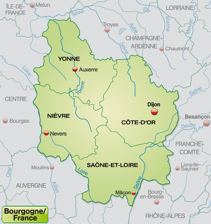 mines: Map of Burgundy with borders in pastel green Illustration
