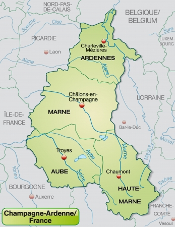 canton: Map of Champagne-Ardenne with borders in pastel green Illustration
