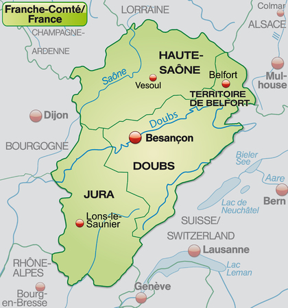Map of Franche-Comte with borders in pastel green Vector