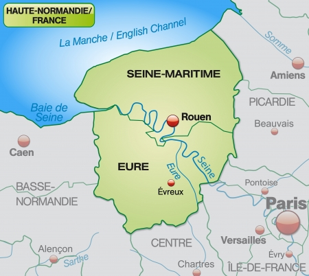 normandy: Map of Upper Normandy with borders in pastel green