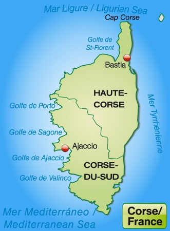 corsica: Map of corsica with borders in pastel green Illustration