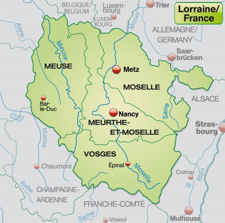 Map of lorraine with borders in pastel green