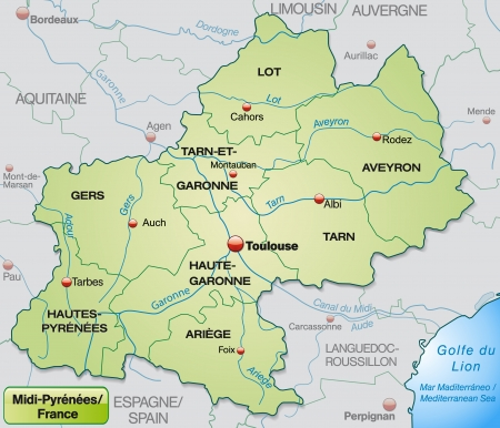 toulouse: Map of Midi-Pyrenees with borders in pastel green