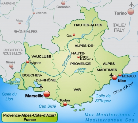french countryside: Map of Provence-Alpes-Cote d Azur with borders in pastel green