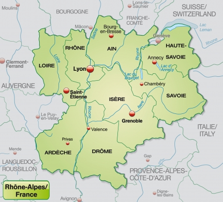 rhone: Map of rhone alps with borders in pastel green