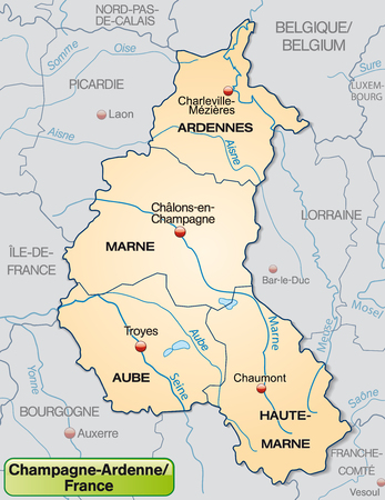 champagne region: Map of Champagne-Ardenne with borders in pastel orange