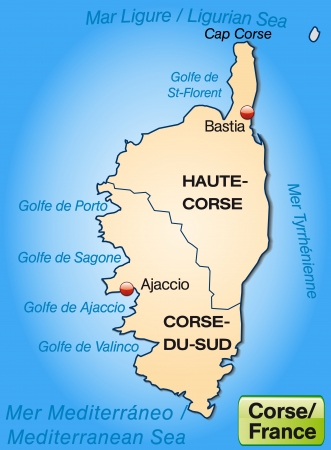 corsica: Map of corsica with borders in pastel orange Illustration
