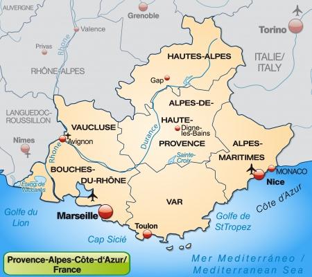 Kaart van de Provence-Alpes-Cote d Azur met randen in pastel oranje