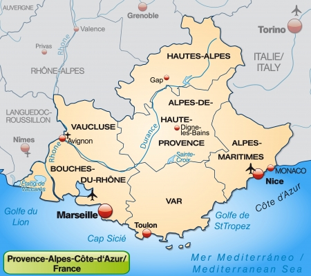 nice france: Map of Provence-Alpes-Cote d Azur with borders in pastel orange
