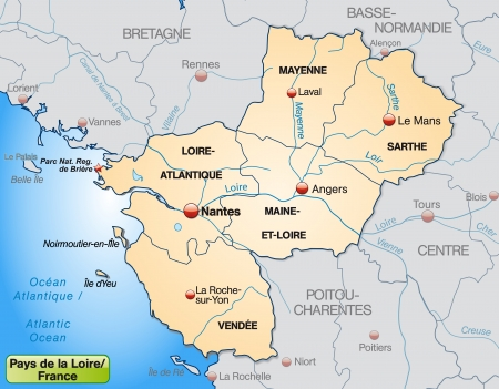 Map of Pays de la Loire with borders in pastel orange Vector