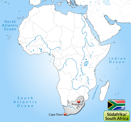 Map of south africa with main cities in gray