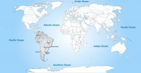port of spain: Map of South America with main cities in gray
