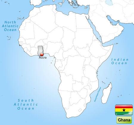 ghana: Carte du Ghana avec les grandes villes en gris