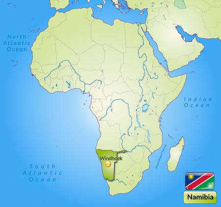 kalahari desert: Map of Namibia with main cities in green
