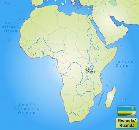 cartographer: Map of rwanda with main cities in green Illustration