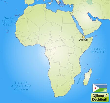djibouti: Map of Djibouti with main cities in green