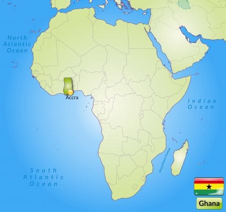 ghana: Carte du Ghana avec les grandes villes en vert