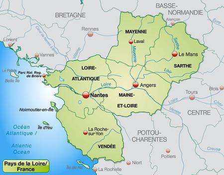 Map of Pays de la Loire with borders in pastel green