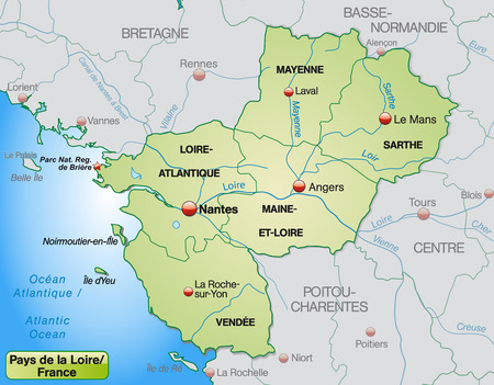 Map of Pays de la Loire with borders in pastel green