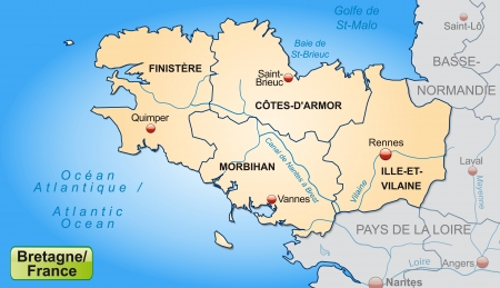 brittany: Map of Brittany with borders in pastel orange Illustration