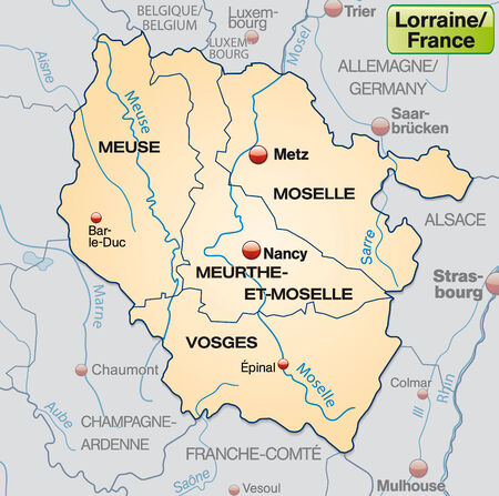 Map of lorraine with borders in pastel orange
