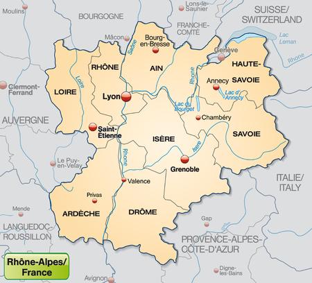 rhone: Map of rhone-alps with borders in pastel orange