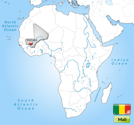 mali: Map of mali with main cities in gray Illustration