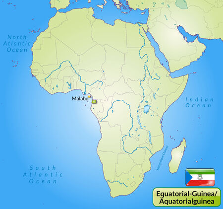 equatorial guinea: Map of Equatorial Guinea with main cities in green