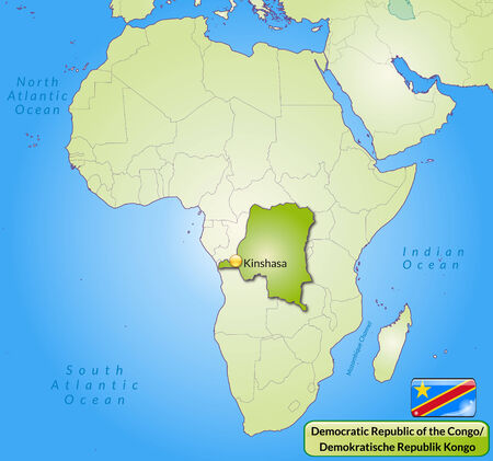 cartographer: Map of congo-democratic-republic with main cities in green