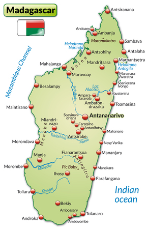 Map of Madagascar as an overview map in pastel green Ilustrace
