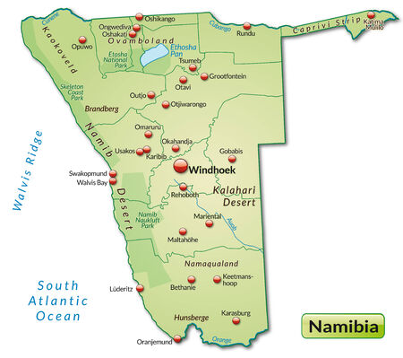 kalahari desert: Map of Namibia as an overview map in pastel green