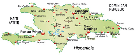 Map of hispaniola as an overview map in pastel green Vector