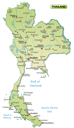 Map of Thailand as an overview map in pastel green Stock Vector - 25038217