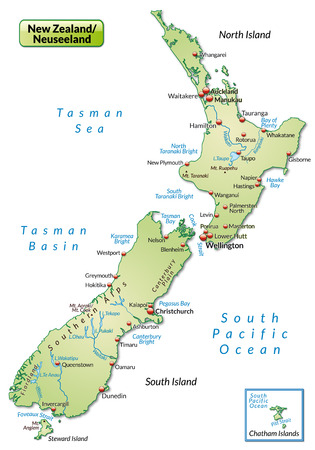 Map of new zealand as an overview map in pastel green