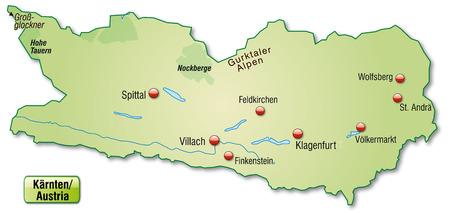 Map of kaernten as an overview map in pastel green Illustration