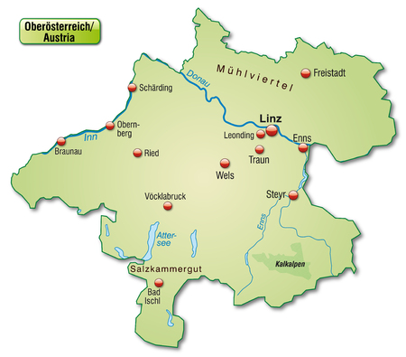 Map of Upper Austria as an overview map in pastel green Vector