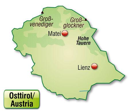 チロル: パステル グリーンの概要マップとして東チロルの地図