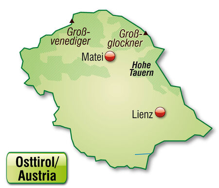 Map of East Tyrol as an overview map in pastel green Vector