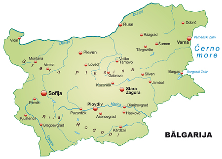 ruse: Map of Bulgaria as an overview map in pastel green